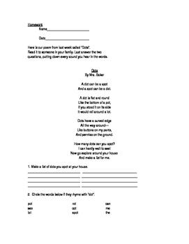The Dot Poetry Homework