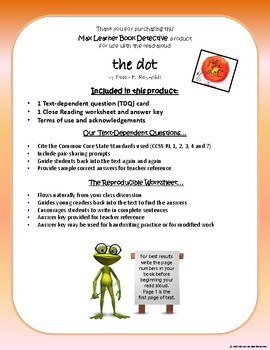 The Dot: Text-Dependent Questions and no-prep worksheet