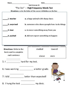 The Dot - Vocabulary & Comprehension Test/Quiz (Journeys)