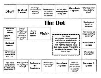 """The Dot"" 1st grade comprehension game board"
