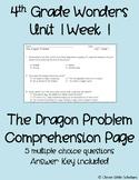The Dragon Problem Questions Wonders Grade 4 Unit 1 Week 1