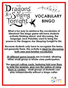 The Dragons Are Singing Tonight Vocabulary Bingo