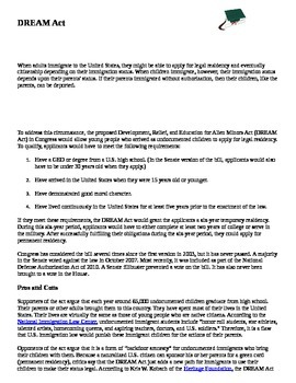 The Dream Act reading  discussion sheet and story