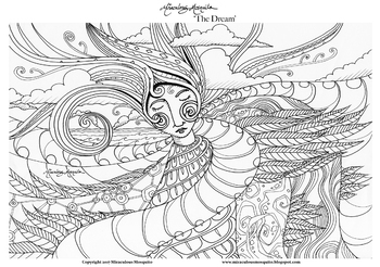 The Dream - Printable Colouring Page for Adults and Children.