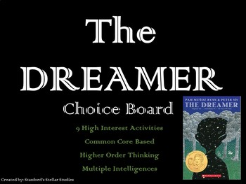 The Dreamer Choice Board Tic Tac Toe Novel Study Activities Menu Assessment