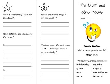 The Drum (and other poems) Trifold - Wonders 4th Grade Unit 6 Week 5