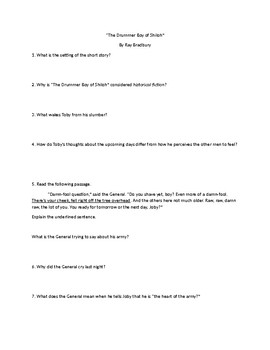The Drummer Boy of Shiloh Open Book Test/Comprehension Questions