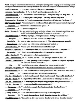 The Drummer Boy of Shiloh by Ray Bradbury Figurative Language Worksheet & KEY