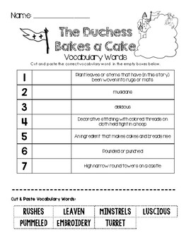 The Duchess Bakes a Cake - Vocabulary Words