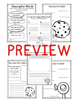 The Duckling Gets a Cookie?! Worksheets and Activities. Pigeon and Duckling