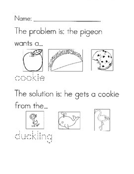 The Duckling Gets a Cookie?! problem/solution worksheet