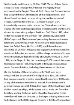 The Dunkirk Evacuation Handout