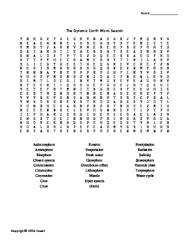 The Dynamic Earth Vocabulary Word Search for Environmental Science