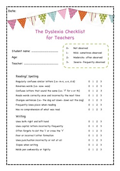 The Dyslexia Checklist for Teachers