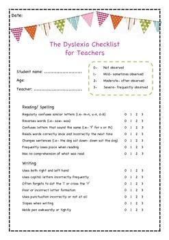 The Dyslexia Checklist for Teachers