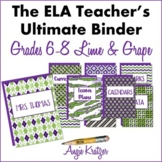 The ELA Teacher's Ultimate Binder {Grades 6,7,8 Lime & Grape EDITABLE}
