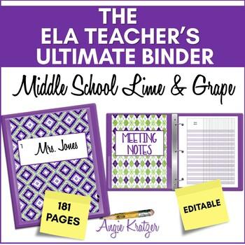 The ELA Teacher's Ultimate Binder {Grades 6,7,8   Lime & Grape}