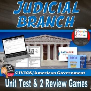 The JUDICIAL Branch Unit TEST - Editable (Civics/U.S. Government)