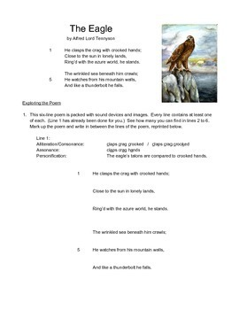 """""""The Eagle"""" by Alfred Lord Tennyson (poetry analysis worksheet)"""