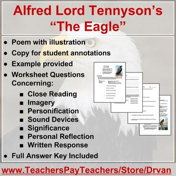 the eagle by alfred lord tennyson poetry analysis worksheet by drvan. Black Bedroom Furniture Sets. Home Design Ideas