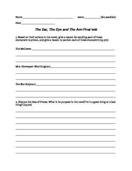 The Ear, The Eye and The Arm novel test