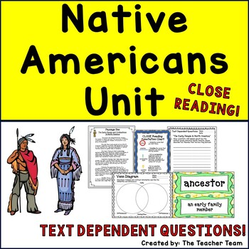 The Native Americans and Early People Unit with Passages, Questions, & Report