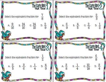 The Early Bird Multiple Choice Task Cards:  Identifying Equivalent Fractions