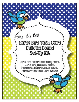 The Early Bird Task Card Bulletin Board Set-Up Kit in Lime, Lemon and Sky Blue
