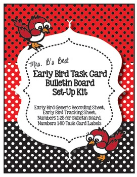 The Early Bird Task Card Bulletin Board Set-Up Kit in Blac