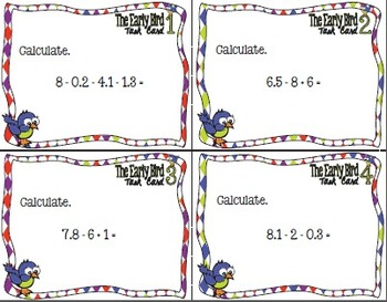 The Early Bird Task Cards:  Add and Subtract Expressions Involving Decimals