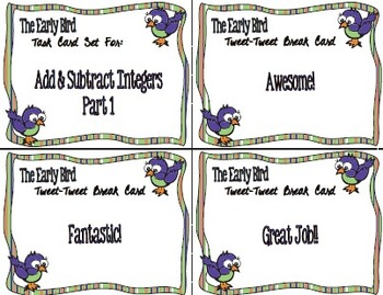 The Early Bird Task Cards:  Add and Subtract Integers, Part 1