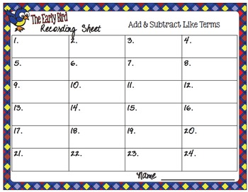 The Early Bird Task Cards:  Add and Subtract Like Terms