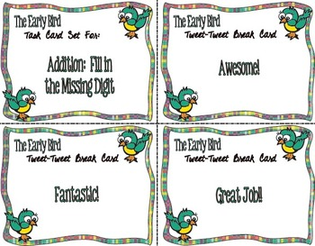 The Early Bird Task Cards:  Addition-Fill in the Missing Digit(s)