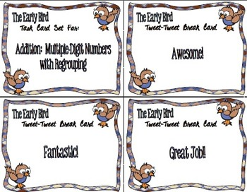 The Early Bird Task Cards:  Addition Multiple-Digit with Regrouping