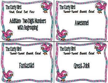 The Early Bird Task Cards:  Addition Two-Digit with Regrouping
