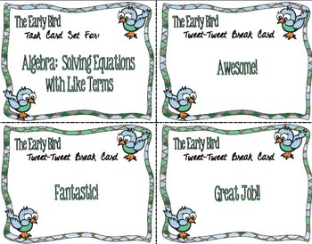 The Early Bird Task Cards:  Algebra - Solve Equations with Like Terms