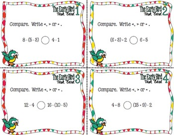 The Early Bird Task Cards:  Comparing Multiple Step Inequalities