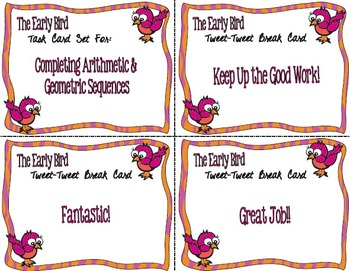 The Early Bird Task Cards:  Completing Arithmetic and Geometric Sequences