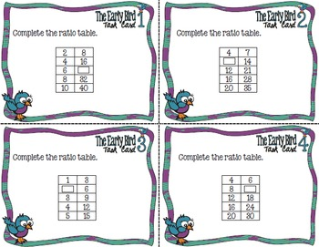The Early Bird Task Cards: Completing Ratio Tables