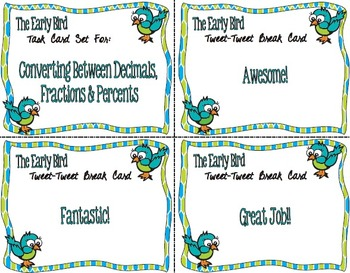 The Early Bird Task Cards:  Converting Between Decimals, Fractions, Percents