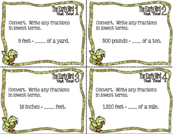 The Early Bird Task Cards:  Customary Conversions - Fractions and Mixed Numbers
