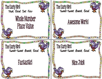The Early Bird Task Cards:  Decimal Place Value