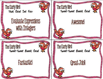 The Early Bird Task Cards:  Evaluating Expressions with Integers