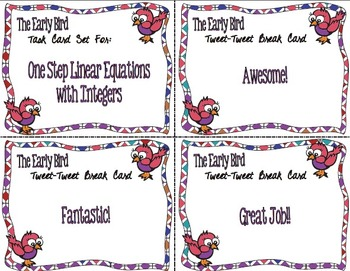 The Early Bird Task Cards:  One Step Linear Equations with Integers