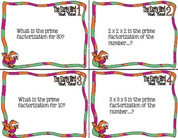 The Early Bird Task Cards:  Prime Factorization