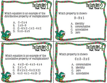 The Early Bird Task Cards:  Properties of Multiplication