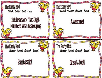 The Early Bird Task Cards:  Subtraction Two-Digit with Regrouping