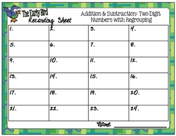 The Early Bird Task Cards:  Two-Digit Addition and Subtraction with Regrouping