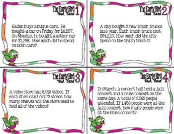 The Early Bird Task Cards:  Whole Number, Multiple Operation Word Problems