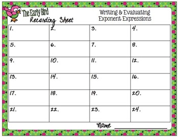 The Early Bird Task Cards:  Writing and Evaluating Exponent Expressions